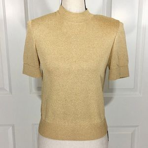 St. John Gold Metallic Mock Turtleneck Top